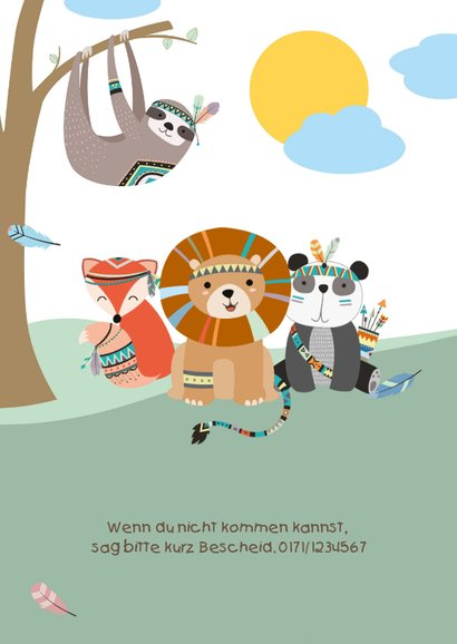 Einladungskarte zur Indianerparty Kindergeburtstag 2
