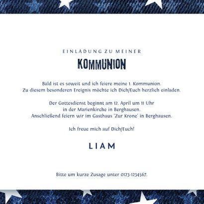 Einladungskarte zur Kommunion Denimlook mit Fotos 3