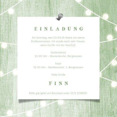 Einladungskarte zur Kommunion Fotos grünes Holz 3