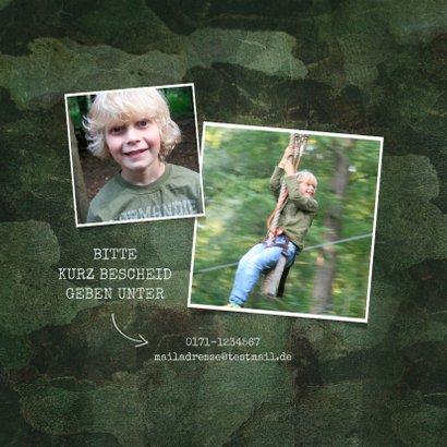 Einladungskarte zur Kommunion grüner Militarylook mit Fotos 2