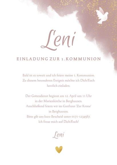 Einladungskarte zur Kommunion mit weißer Taube 3