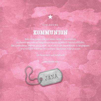 Einladungskarte zur Kommunion rosa Militarylook mit Fotos 3