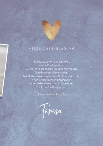 Einladungskarte zur Konfirmation Herzen & Fotocollage 3