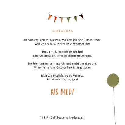 Einladungskarte zur Outdoor Party 3