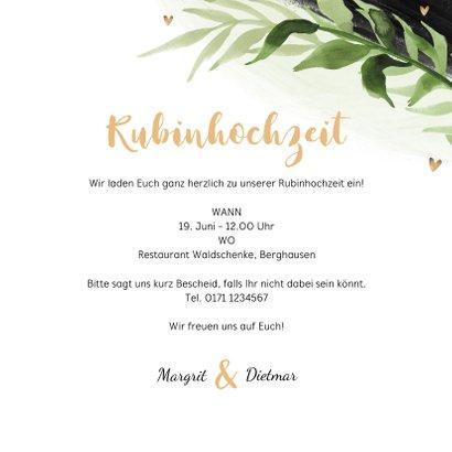 Einladungskarte zur Rubinhochzeit eigene Fotos 3
