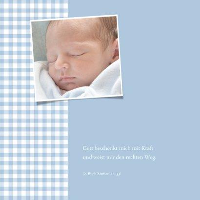 Einladungskarte zur Taufe Foto hellblaue Karos 2