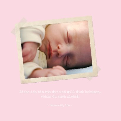 Einladungskarte zur Taufe Foto klassische Streifen rosa 2
