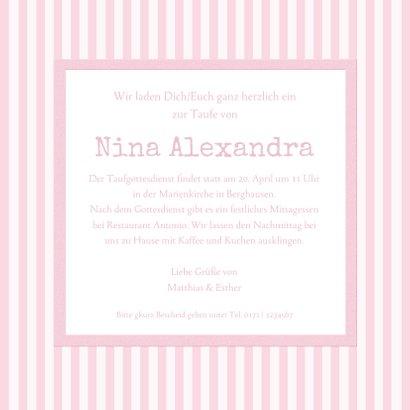 Einladungskarte zur Taufe Foto klassische Streifen rosa 3