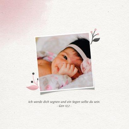 Einladungskarte zur Taufe Foto rosa Blumenkranz 2