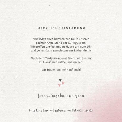 Einladungskarte zur Taufe Foto rosa Blumenkranz 3