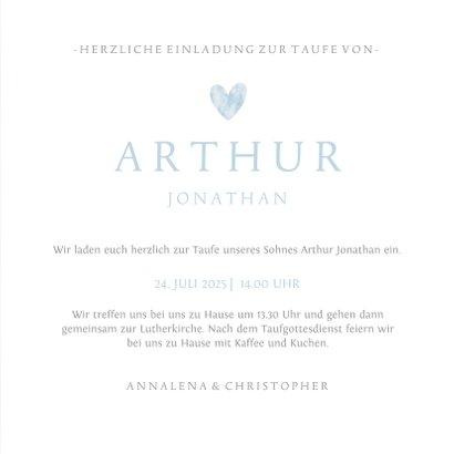 Einladungskarte zur Taufe Herz in Aquarell blau Foto innen 3