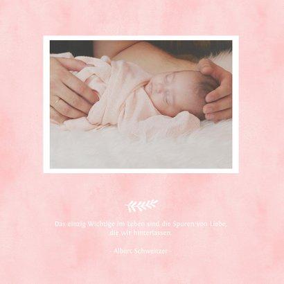Einladungskarte zur Taufe Herz in Aquarell rosa Foto innen 2