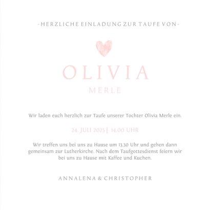Einladungskarte zur Taufe Herz in Aquarell rosa Foto innen 3