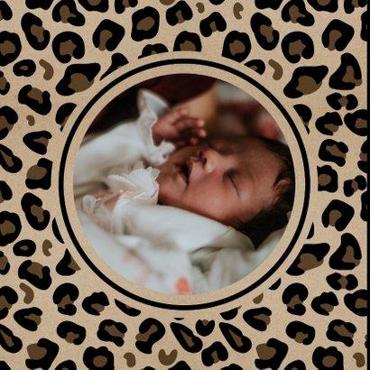 Einladungskarte zur Taufe Leopardenprint Kraftpapierlook 2