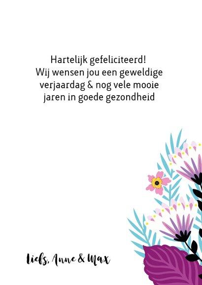 Elegante verjaardagskaart met bloemen en sterretjes 3