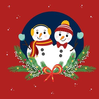 Feestdagen kaartje met 2 vrolijke sneeuwpoppen 2