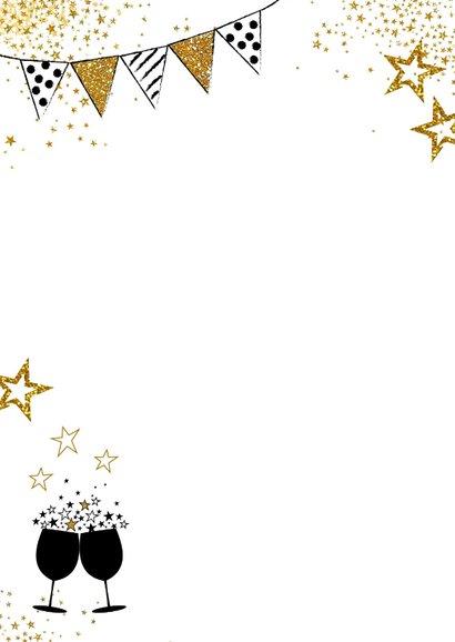 Feestelijke foto kaart uitnodiging met gouden sterren 2