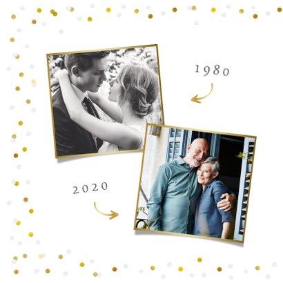 Feestelijke kaart huwelijksjubileum confetti met foto 2