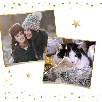 Feestelijke kerstkaart met confetti rand en grote eigen foto 2