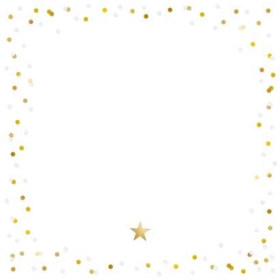 Feestelijke kerstkaart met confetti rand en grote eigen foto Achterkant