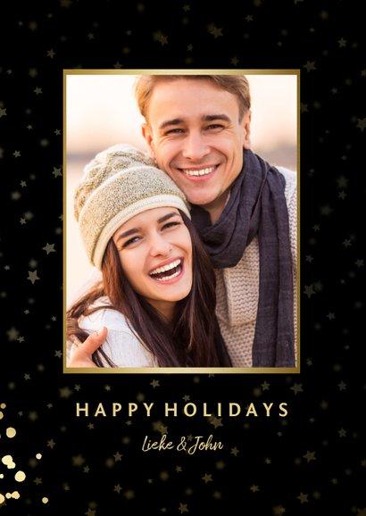 Feestelijke kerstkaart met sterren, foto en gouden confetti 2