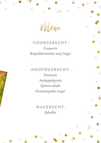 Feestelijke menukaart trouwen met confetti en goud 3