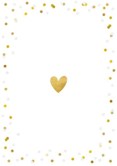 Feestelijke menukaart trouwen met confetti en goud Achterkant