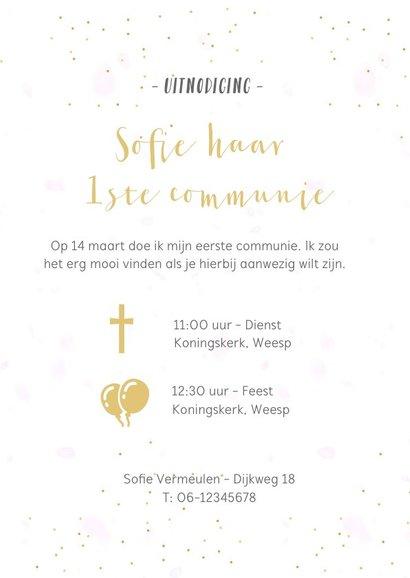Feestelijke uitnodiging communie fotocollage meisje 3