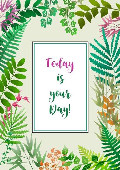 Feestelijke verjaardagskaart met plantjes en blaadjes 3