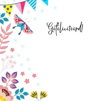 Feestelijke verjaardagskaart met poesje en vlinder 2