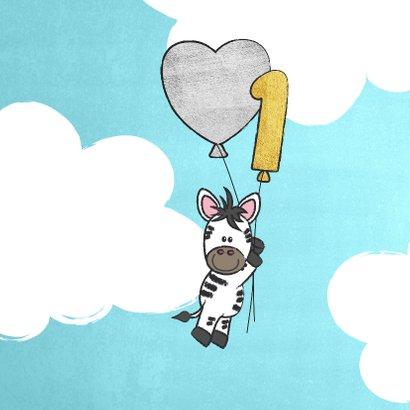 Felicitatie 1 jaar lieve zebra met ballonnen in de wolken 2