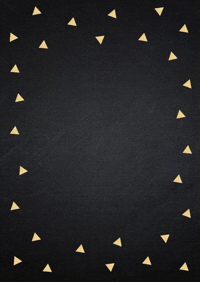 Felicitatie baan typografie krijtbord driehoekjes goudlook 2