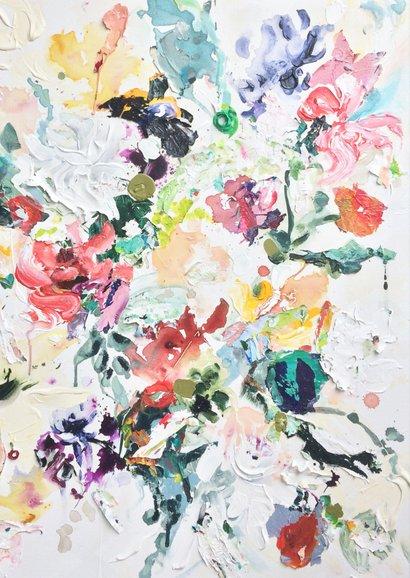 Felicitatie blanco - bloemen geschilderd 2