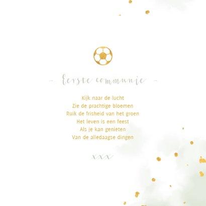 Felicitatie communie gouden voetbal met waterverf 3