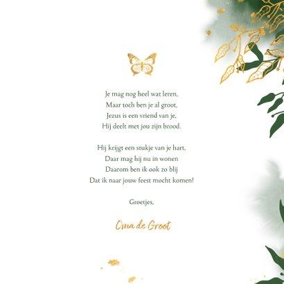 felicitatie communie met groene waterverf en gouden bladeren 3