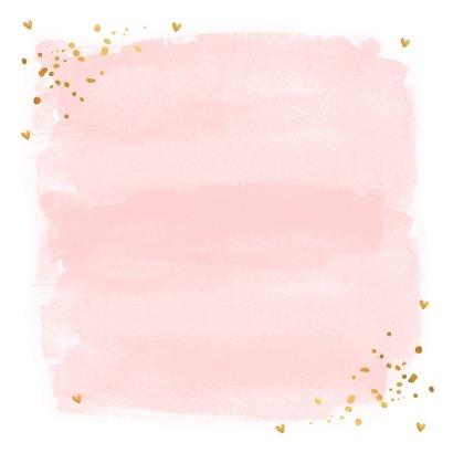 Felicitatie Communie waterverf roze goud 2
