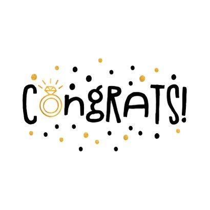 Felicitatie congrats gouden ring en confetti 2