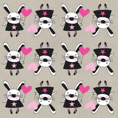 Felicitatie dochter handgetekend konijn roze & Kraft - MW 2