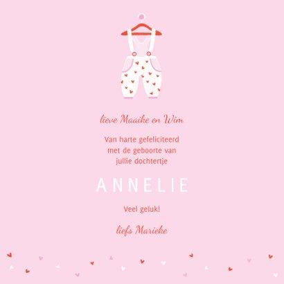 Felicitatie dochter kleertjes roze/rood 3