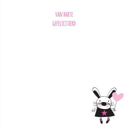 Felicitatie dochter konijn roze en kraft handgetekend 3
