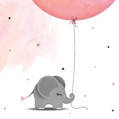 Felicitatie dochter olifantje met ballon en vogel 2