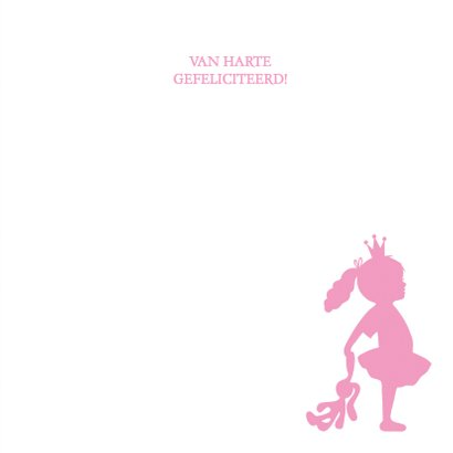 Felicitatie dochter silhouet knuffel roze - MW 3
