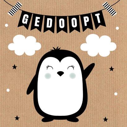 Felicitatie doop pinguïn kraft slinger 2