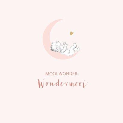 Felicitatie geboorte baby op roze maan met sterren 2