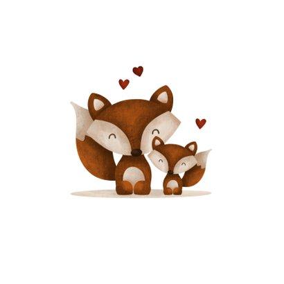 Felicitatie geboorte broertje of zusje vos met hartjes lief 2