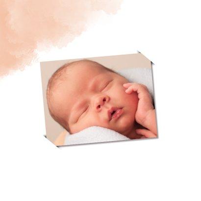Felicitatie geboorte dochter met zalm-roze achtergrond 2