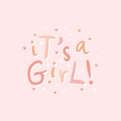 Felicitatie geboorte 'it's a girl!' hip met hartjes 2