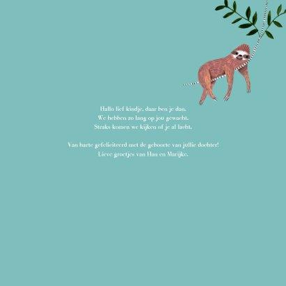 Felicitatie geboorte jongen dieren jungle luiaard 3