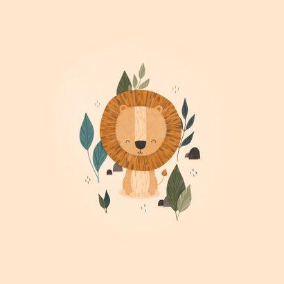 Felicitatie geboorte leeuw met jungle bladeren lief 2