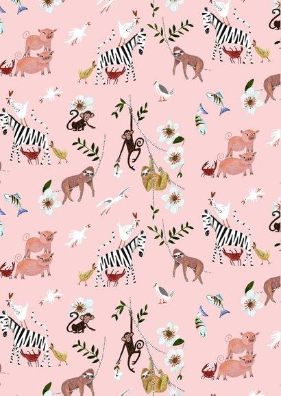 Felicitatie geboorte meisje dieren jungle luiaard 2
